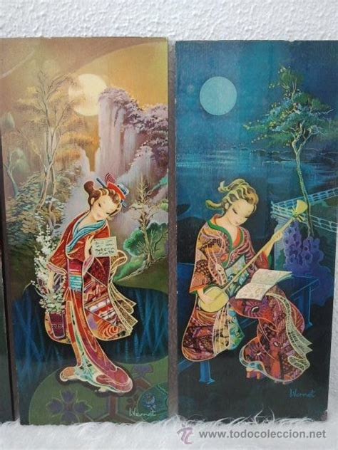 cuadros de japonesas lote de 4 cuadros de geishas japonesas comprar en