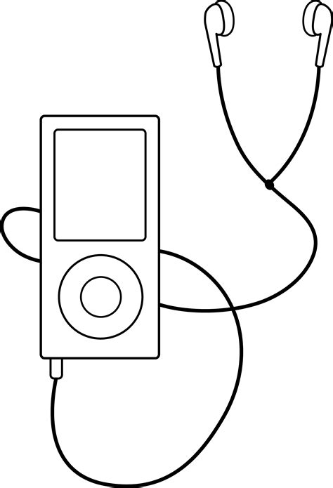 earphones coloring page mp3 player line art free clip art