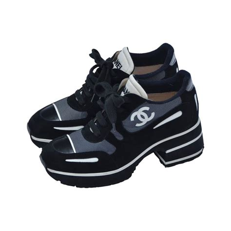 chanel sneakers black chanel 1997 platform black white shoes sneakers new 38 5