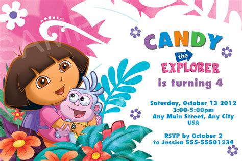 printable invitations dora the explorer dora invitation printable dora birthday invitation