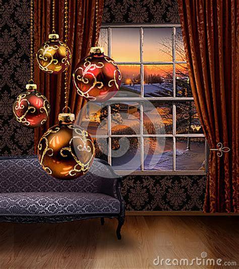 christmas balls hanging winter street view window royalty