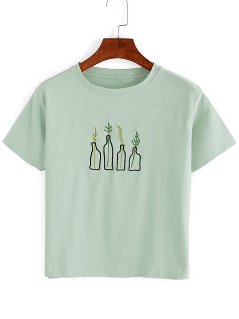 embroidery shirt green plant embroidered t shirt makemechic