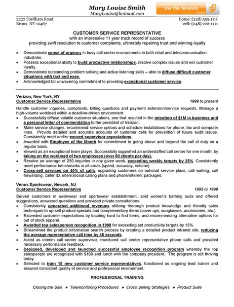 Resume Exles For A Customer Service Customer Service Representative Resume Exle