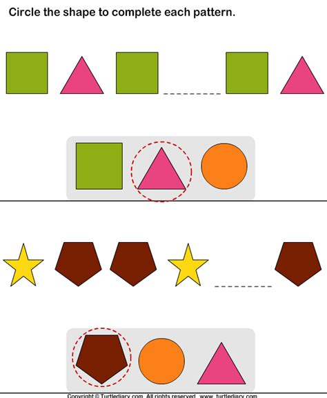 complete patterns by coloring the missing shapes worksheet complete the missing pattern turtlediary com