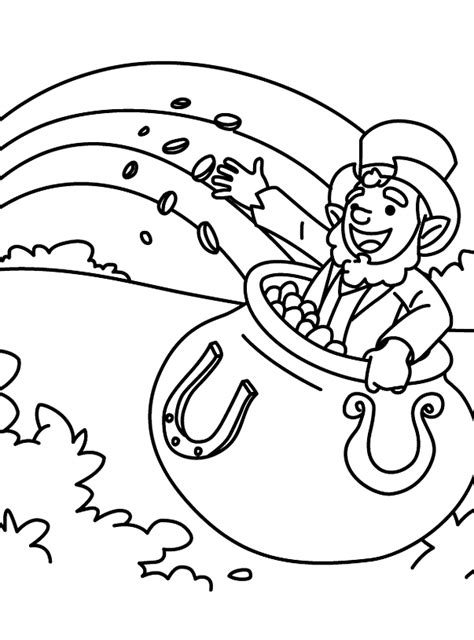 leprechaun with pot of gold coloring pages
