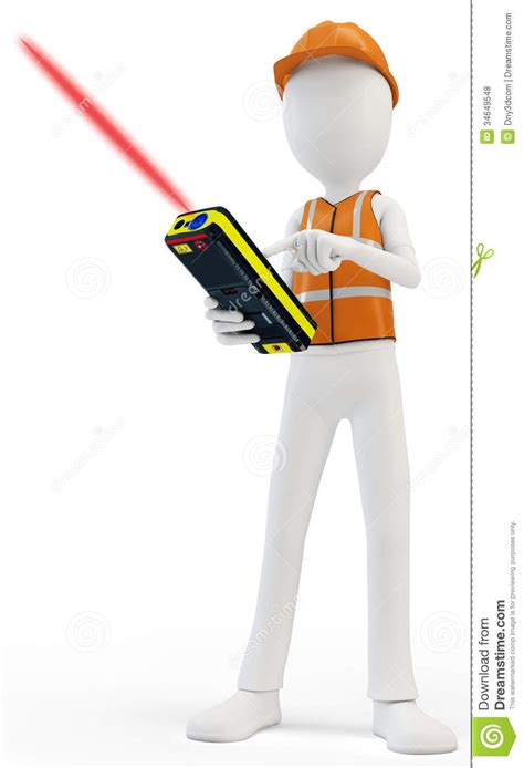 stock illustration of 3d man with safety equipment on 3d man surveyor with laser distance meter hardhat and