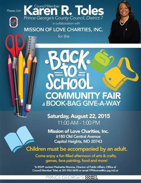Book Bag Giveaway - back to school community fair book bag giveaway