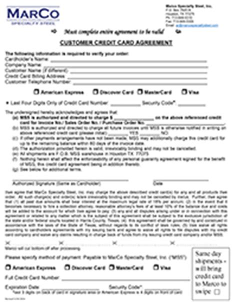 Credit Card Agreement Form For Employees Customer Forms Marco Specialty Steel