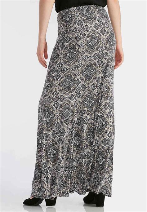 tile print mermaid maxi skirt maxi cato fashions