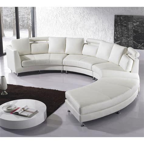 circular leather sectional sofa beliani rotunde white modern design leather