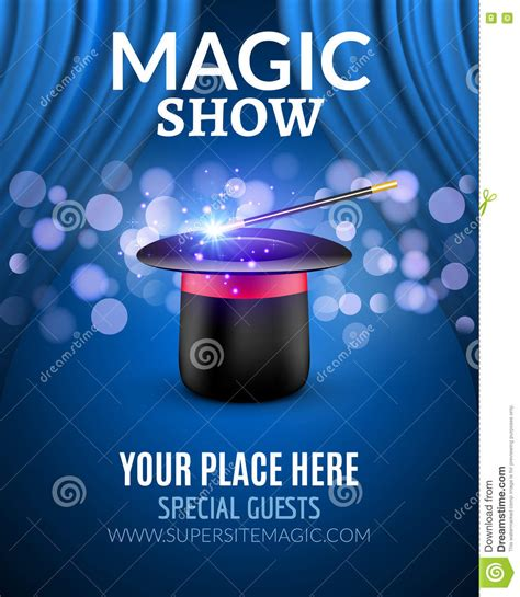 Magic Show Poster Design Template Magic Show Flyer Design With Magic Hat And Curtains Stock Show Template