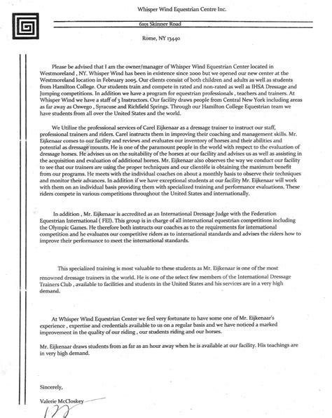 Recommendation Letter For Veterinary Student recommendations carel eijkenaar dressage