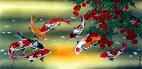 Hn110 Lukisan Lucky 8 Horses koi fish and lychee painting asian koi fish