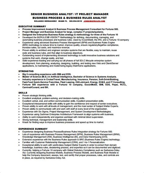 sle resume summary for business analyst business analyst resume template 11 free word excel