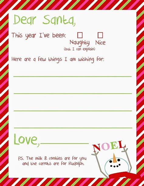 Letter To Santa Free Christmas Printable A Great Holiday Tradition Santa Letter Template