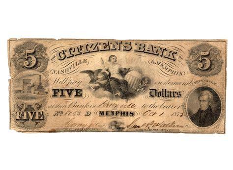 nashville citizens bank 1855 5 citizens bank nashville obsolete bank note
