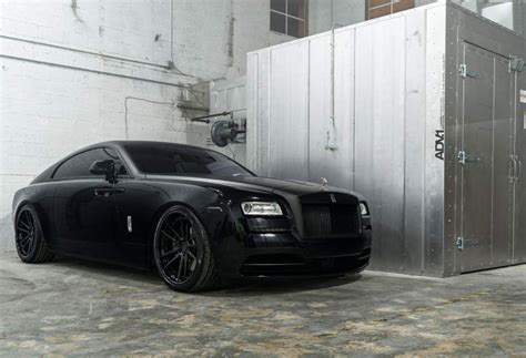 murdered rolls royce wraith adv1 wheels matte black murdered out rolls royce wraith