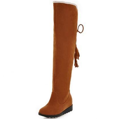 beautiful brown lace up back knee high boots on luulla