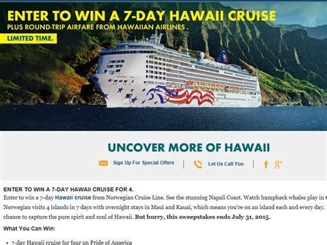 Airline Sweepstakes - norwegian cruise line hawaiian airlines sweepstakes