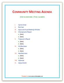 free meeting agenda templates for word community meeting agenda template save word templates