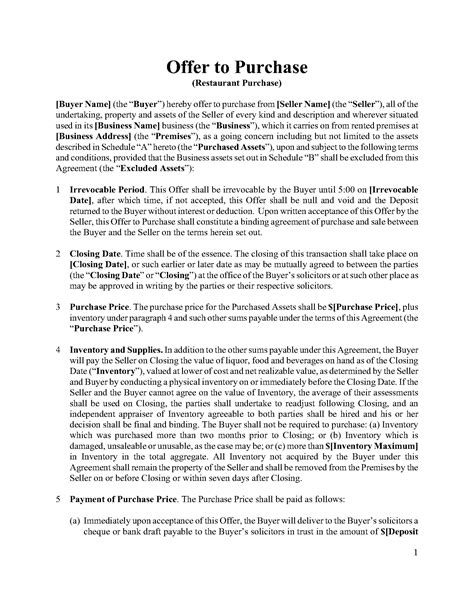 Letter Of Intent To Purchase Real Estate Virginia Ontario Offer To Purchase Restaurant Assets Forms And Business Templates Megadox