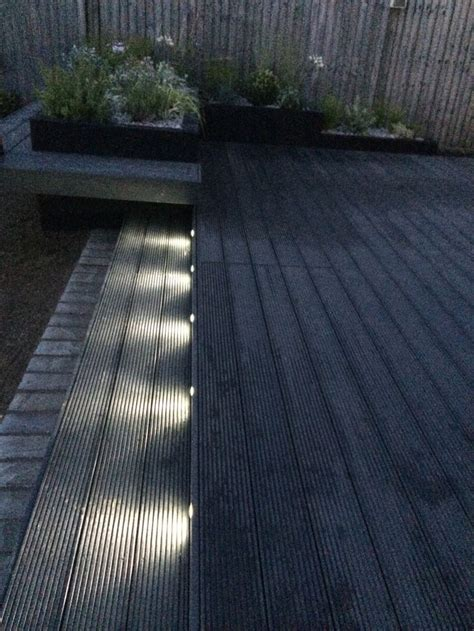Funky led garden lights. Composite decking in dark grey