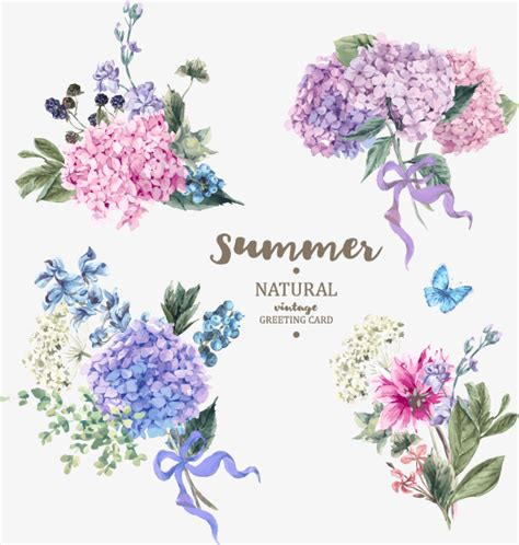 watercolor pattern with purple flowers vector free download painting watercolor flower design vector material