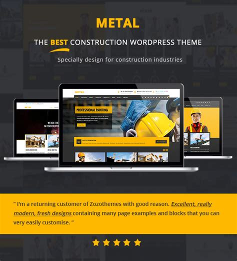 theme wordpress yellow metal building construction business wordpress themes