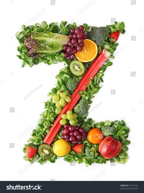 z vegetables fruit and vegetable alphabet letter z stock photo