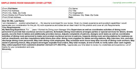Dining Manager Cover Letter by Dining Room Manager Cover Letter Job200573