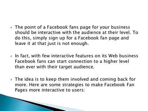 how to make a fan page on facebook strategies on how to make facebook fan page more interactive