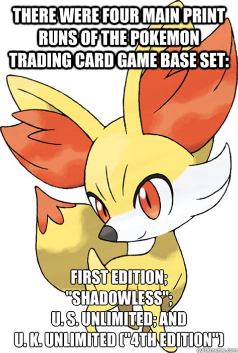 Meme Trading Cards - there were four main print runs of the pokemon trading