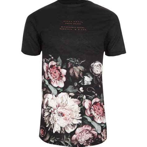 T Shirt Floral black floral print crew neck t shirt seasonal offers sale