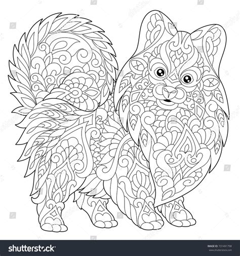 coloring pages year of the dog coloring page pomeranian dog symbol 2018 stock vector