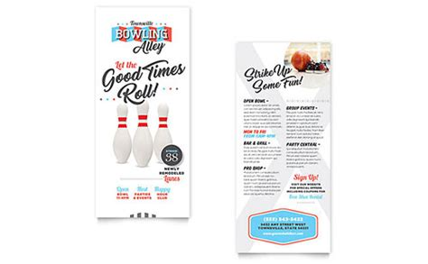 rack card design template bowling brochure template design