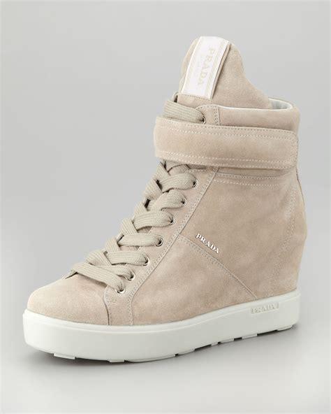 beige wedge sneakers prada suede hitop wedge sneaker pomice in beige pomice