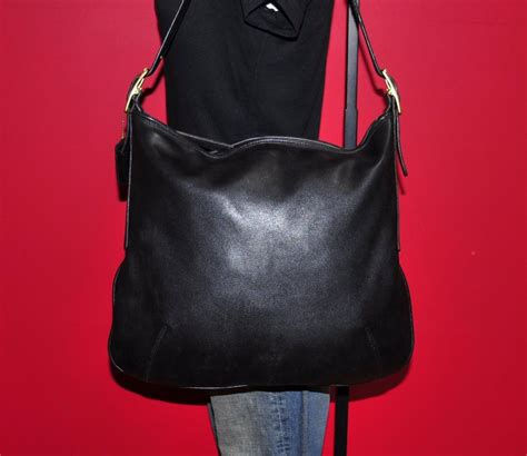 Coach Htons Vintage Leather Large Carryall by Vintage Coach Large Black Leather Slim Hobo Tote Shopper