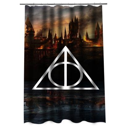 harry potter curtains harry potter deathly hallows shower curtain justvero
