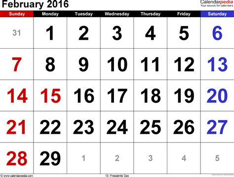 Feb 2016 Calendar February 2016 Calendars For Word Excel Pdf
