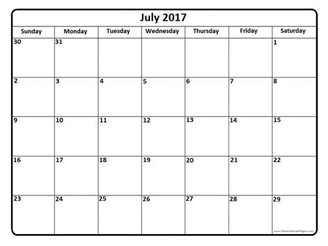 Calendar 2017 July To December July 2017 Calendar July 2017 Calendar Printable