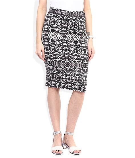 buy and black printed pencil skirt at best prices