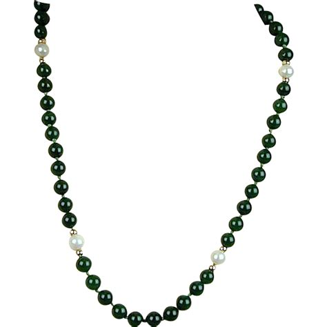 antique jade bead necklace vintage jade bead necklace w pearls gilded silver sold