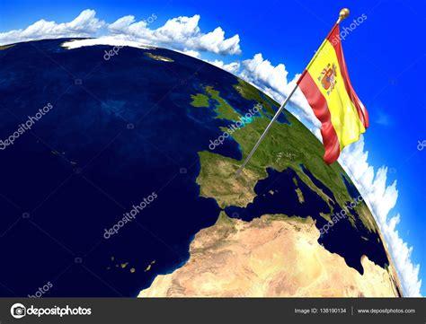 ubicacion imagenes html 스페인 국가 깃발 국가 위치 세계 지도에 표시 3d 렌더링 nasa에서 제공 하는이 이미지의 부분