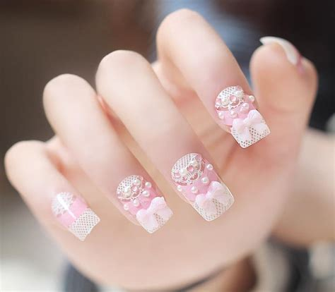 3d Wedding Nails W Rhinestone Kuku Palsu Nail Wd0002a 3d pearls rhinestone shiny nail tips wedding false flower fingernails ebay