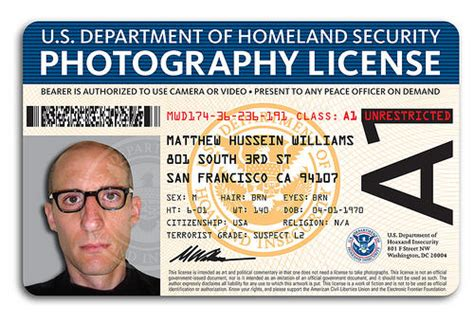 photographer id card template dhs quot photography license quot for no photos laws boing boing