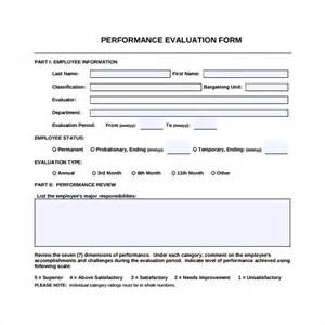 performance evaluation form 9 free samples examples