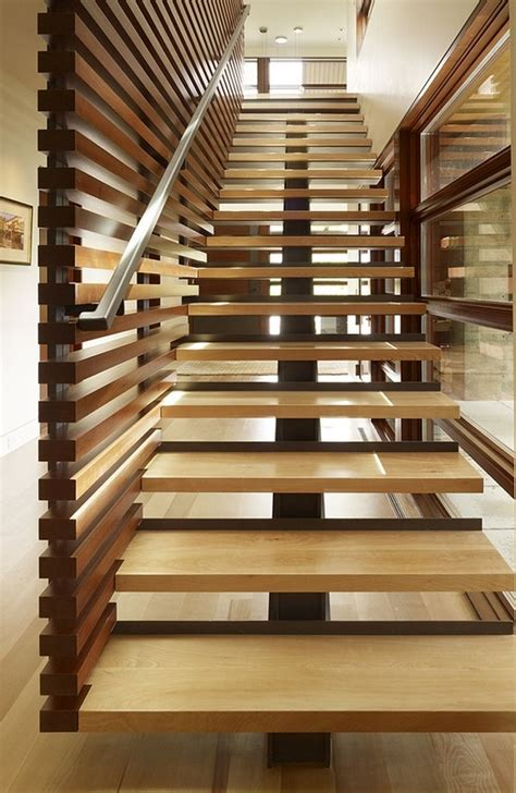 wood stair design peaks view residence with exotic wooden interior ideas by