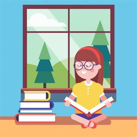 chica inteligente en gafas de leer un libro grande descargar vectores gratis