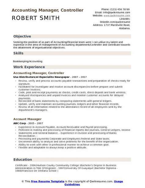 Description Resume Controller Accounting Manager accounting manager controller resume sles qwikresume