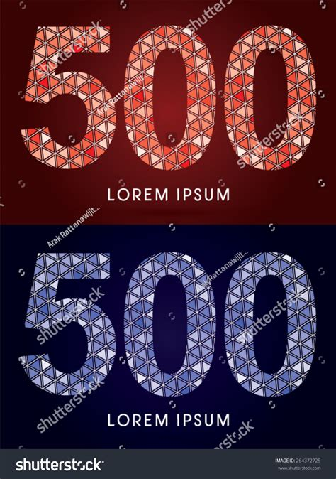 mosaic pattern font 500 number colorful font concept mosaic stock vector